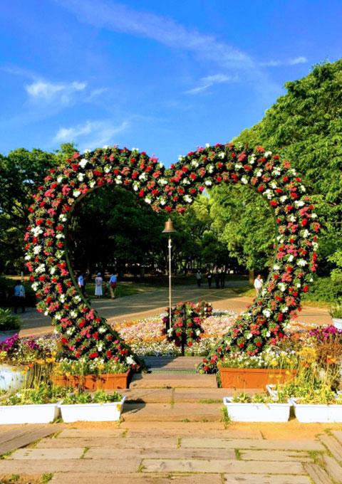 """长居站周边景点""""长居公园""""的心形大花坛"""