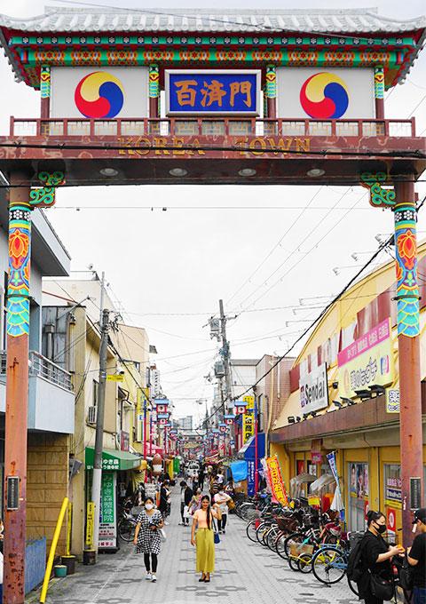 """""""百济门""""是生野韩国城的入口"""