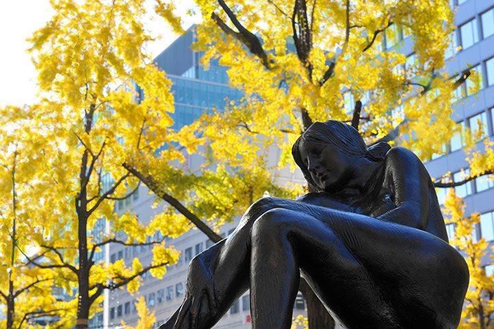 大阪市内的人气秋叶景点御堂筋银杏行道树