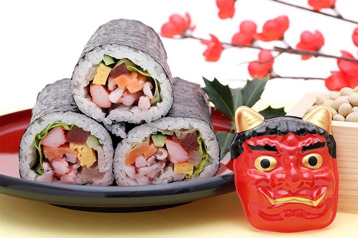 """日本传统节日""""节分""""的惠方卷和鬼面具"""